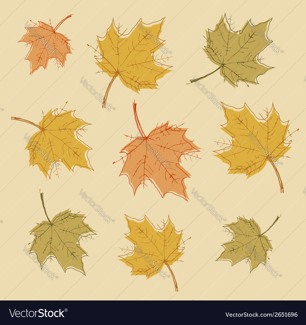 Abstract autumn background with colorful leaves vector | Price: 1 Credit (USD $1)