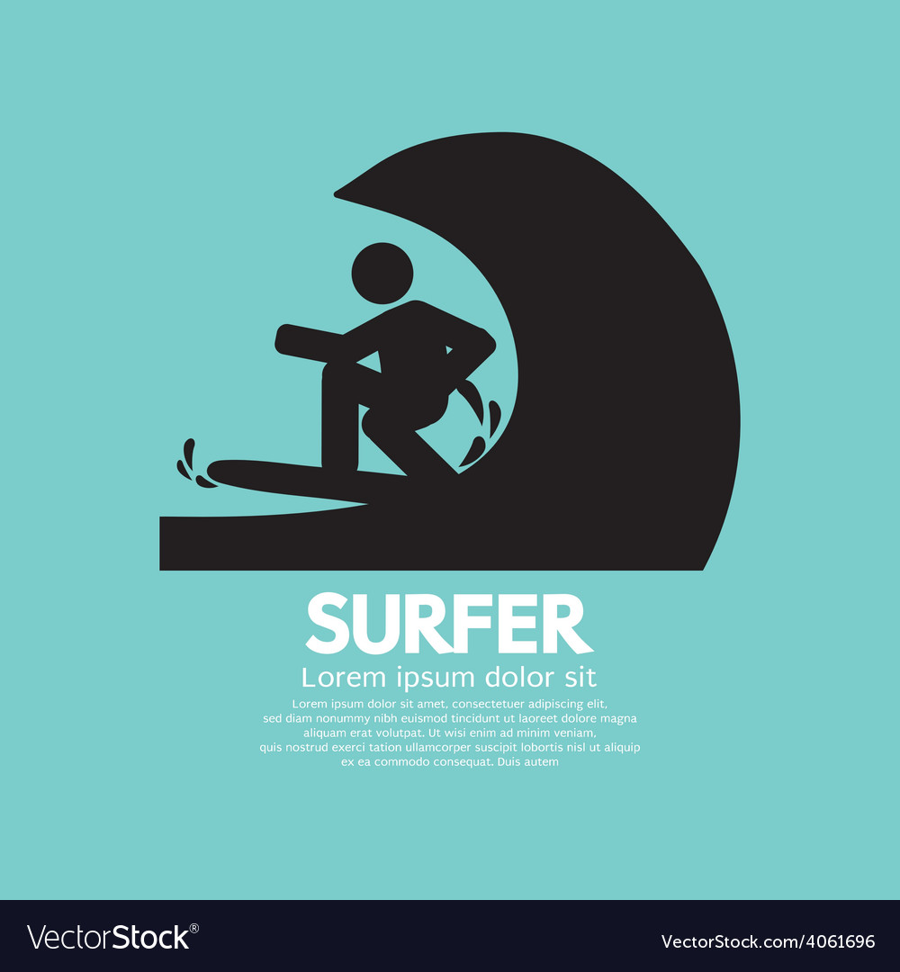Black symbol surfer vector