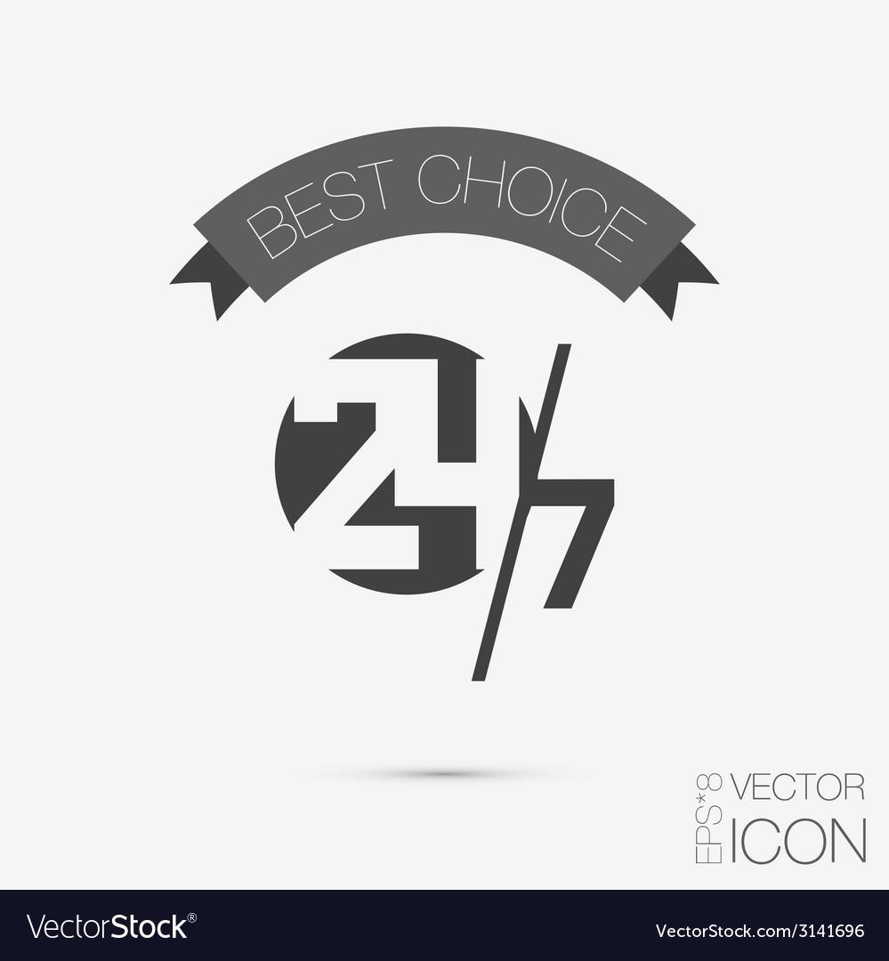 Character 24 7 symbol icon clock service vector | Price: 1 Credit (USD $1)