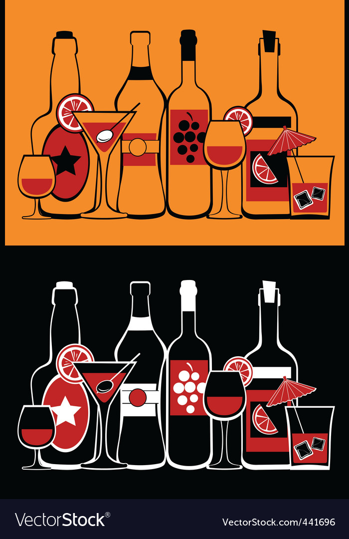 Glasses and bottles collection vector | Price: 1 Credit (USD $1)