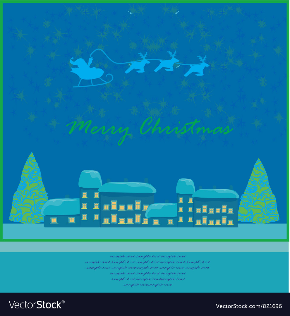 Happy new year card with santa vector | Price: 1 Credit (USD $1)