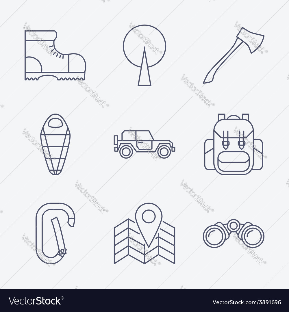 Outline stroke camping icons vector | Price: 1 Credit (USD $1)
