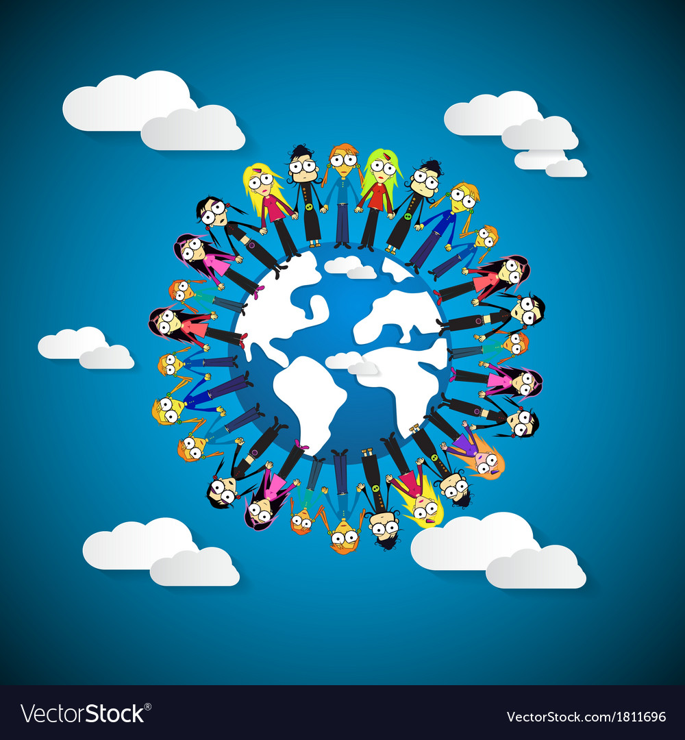 People - women holding hands around globe on blue vector | Price: 1 Credit (USD $1)