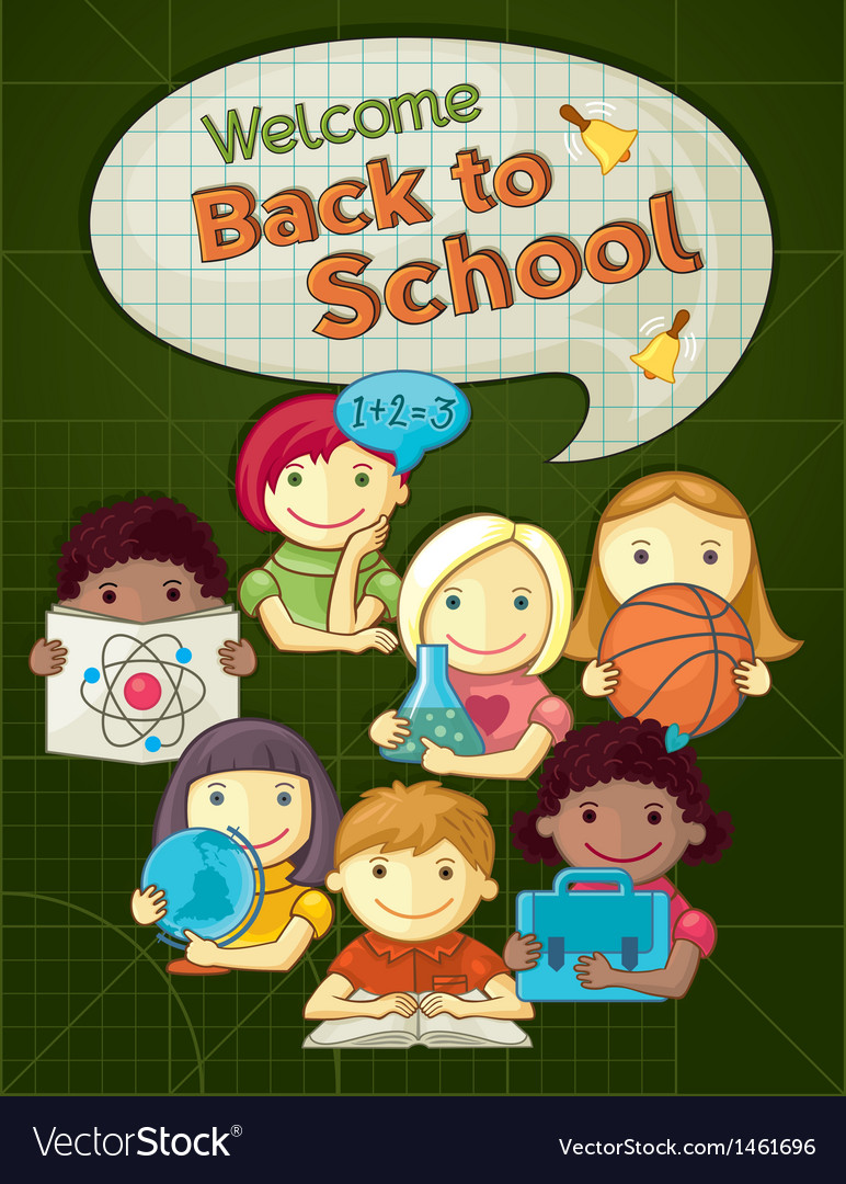 School concept with cute kids vector | Price: 3 Credit (USD $3)