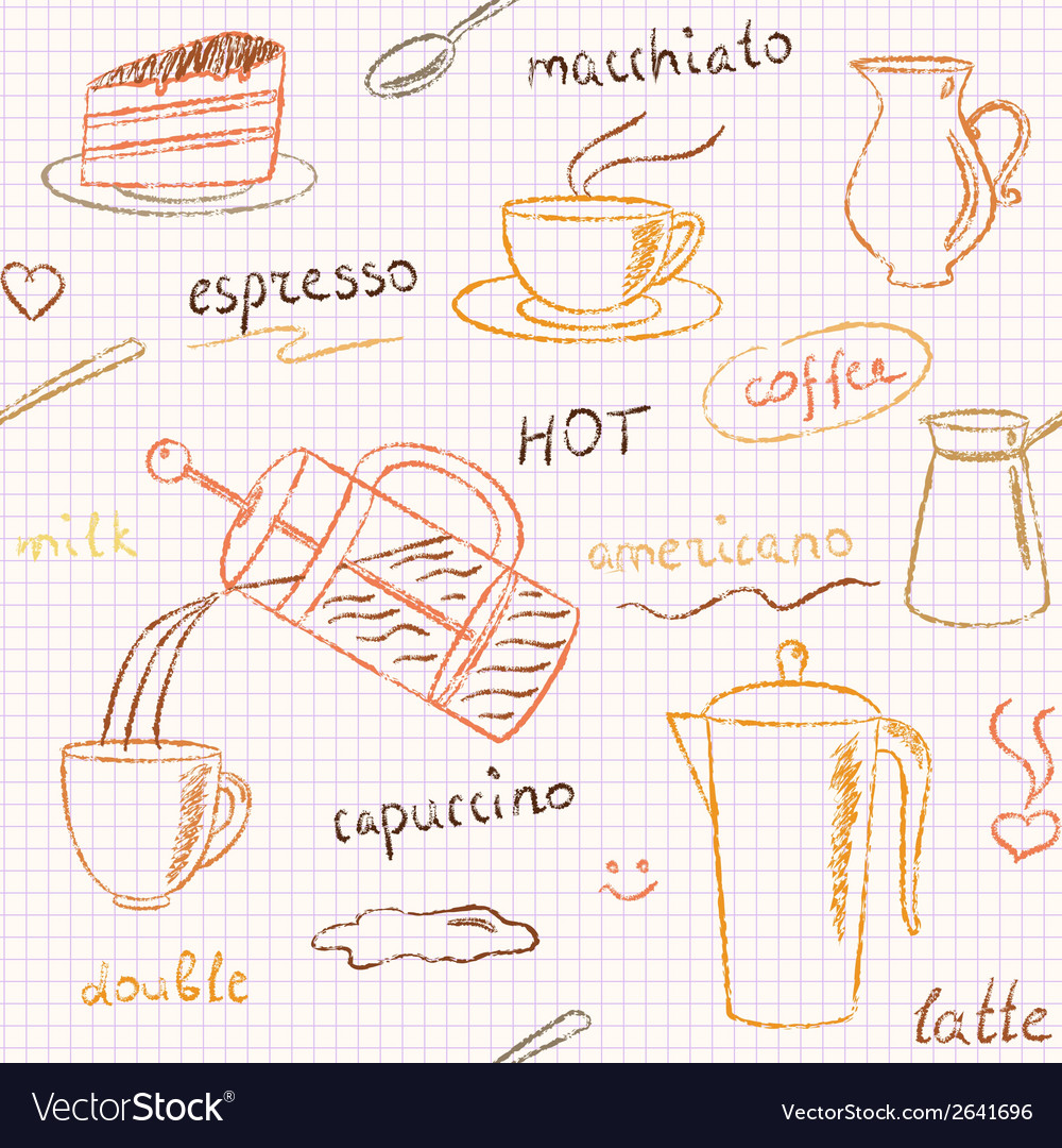 Seamless pattern with hand drawn coffee items vector | Price: 1 Credit (USD $1)