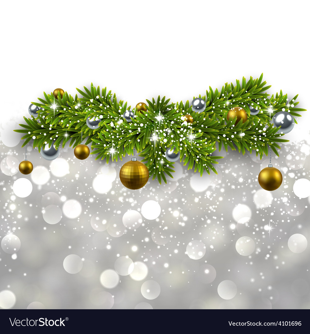 Silver background with fir branches vector | Price: 1 Credit (USD $1)