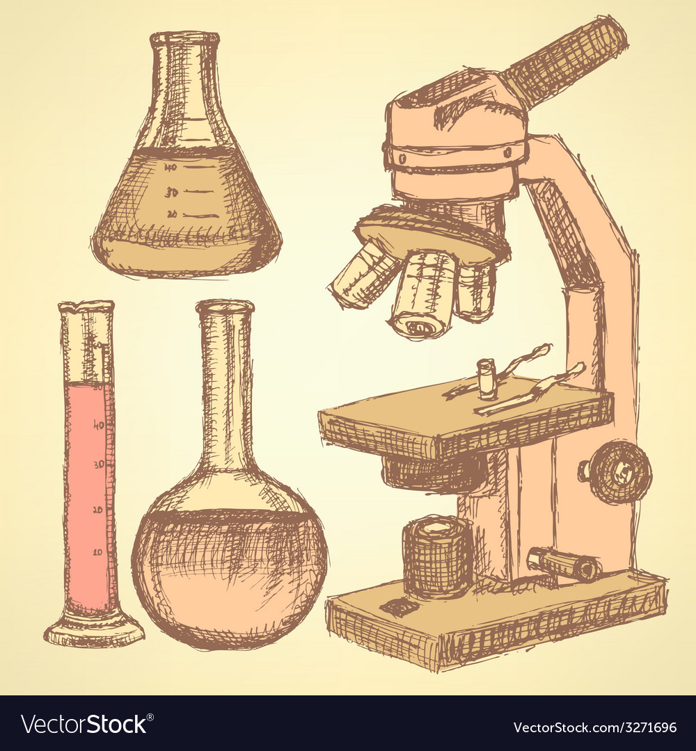 Sketch scientific set in vintage style vector | Price: 1 Credit (USD $1)