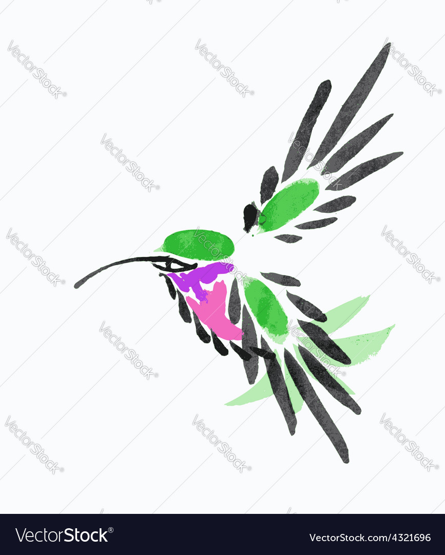 Watercolor blue hummingbird in flight vector | Price: 1 Credit (USD $1)