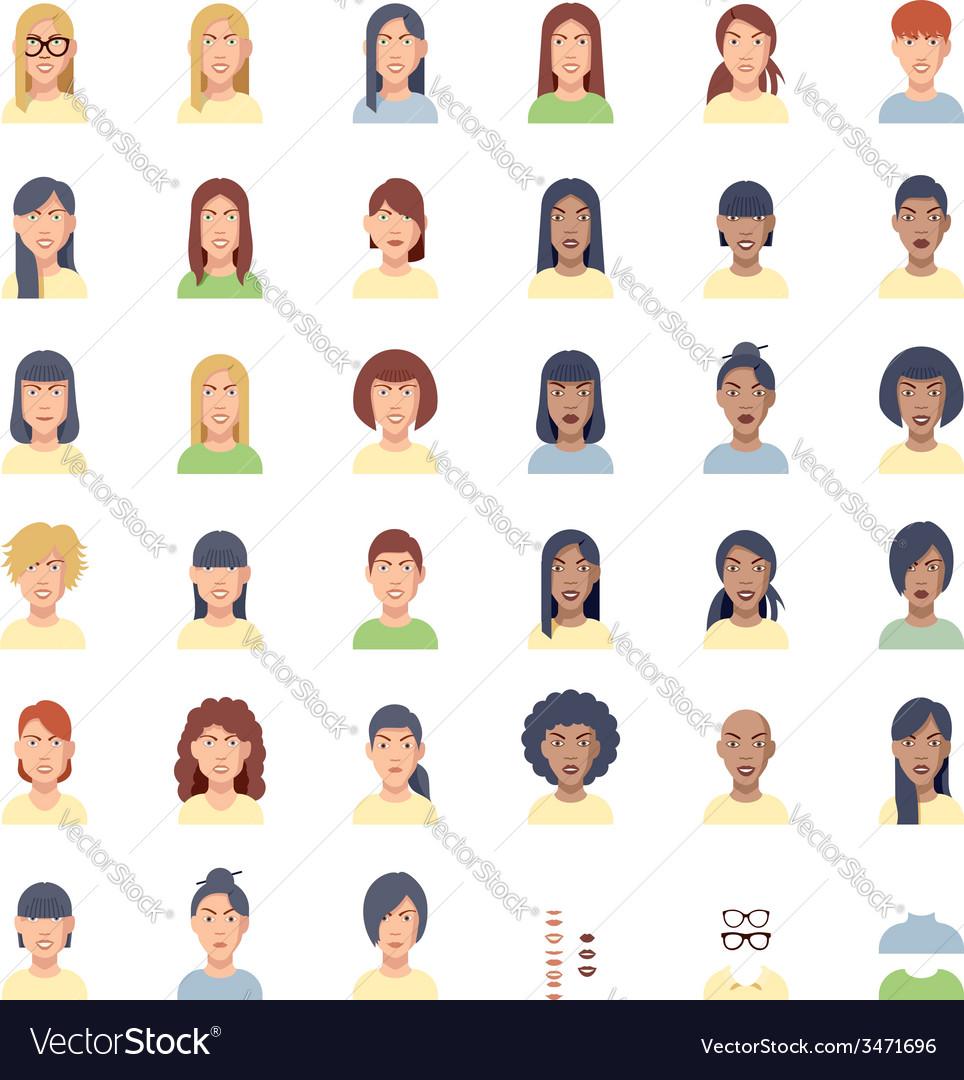 Women faces flat icon set vector