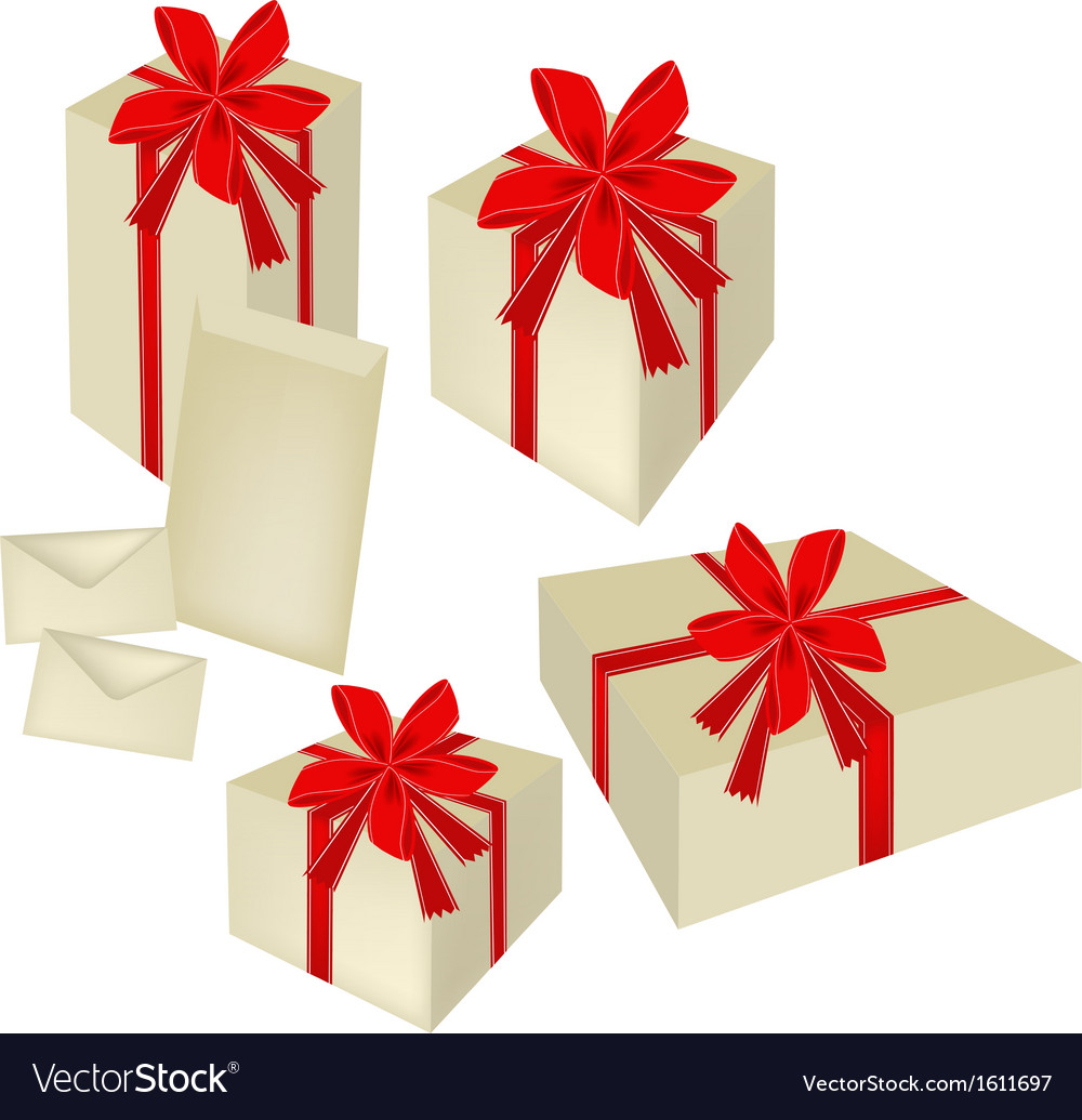 A set of gift boxes with red ribbon and cards vector   Price: 1 Credit (USD $1)