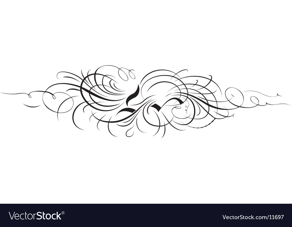 Calligraphy ornament from separate curves vector | Price: 1 Credit (USD $1)