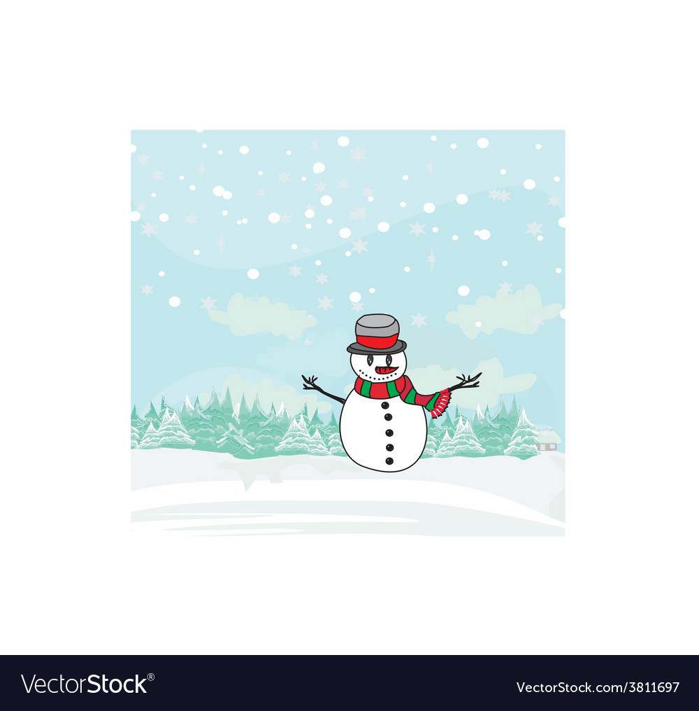 Christmas card with cute snowman vector | Price: 1 Credit (USD $1)