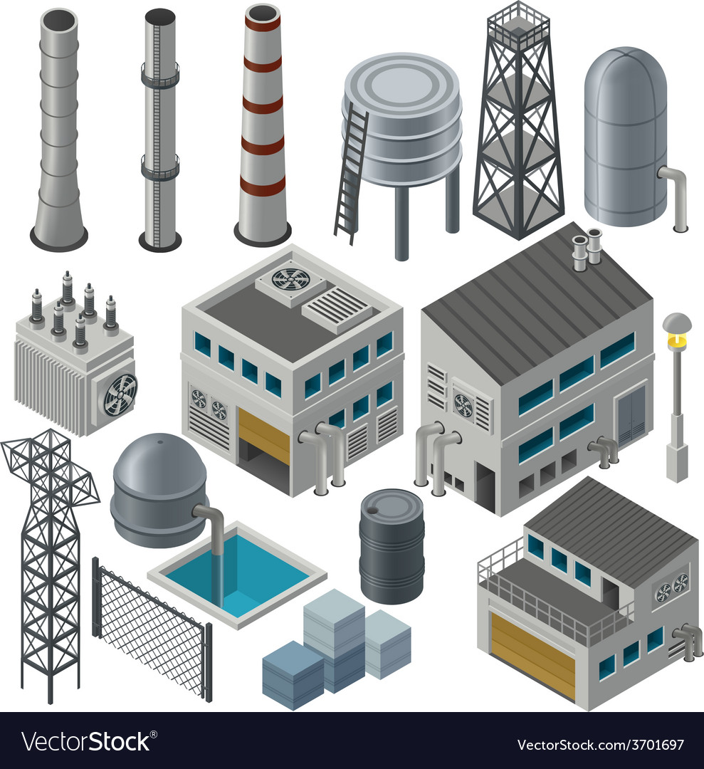 Collection of isometric industrial buildings vector | Price: 1 Credit (USD $1)