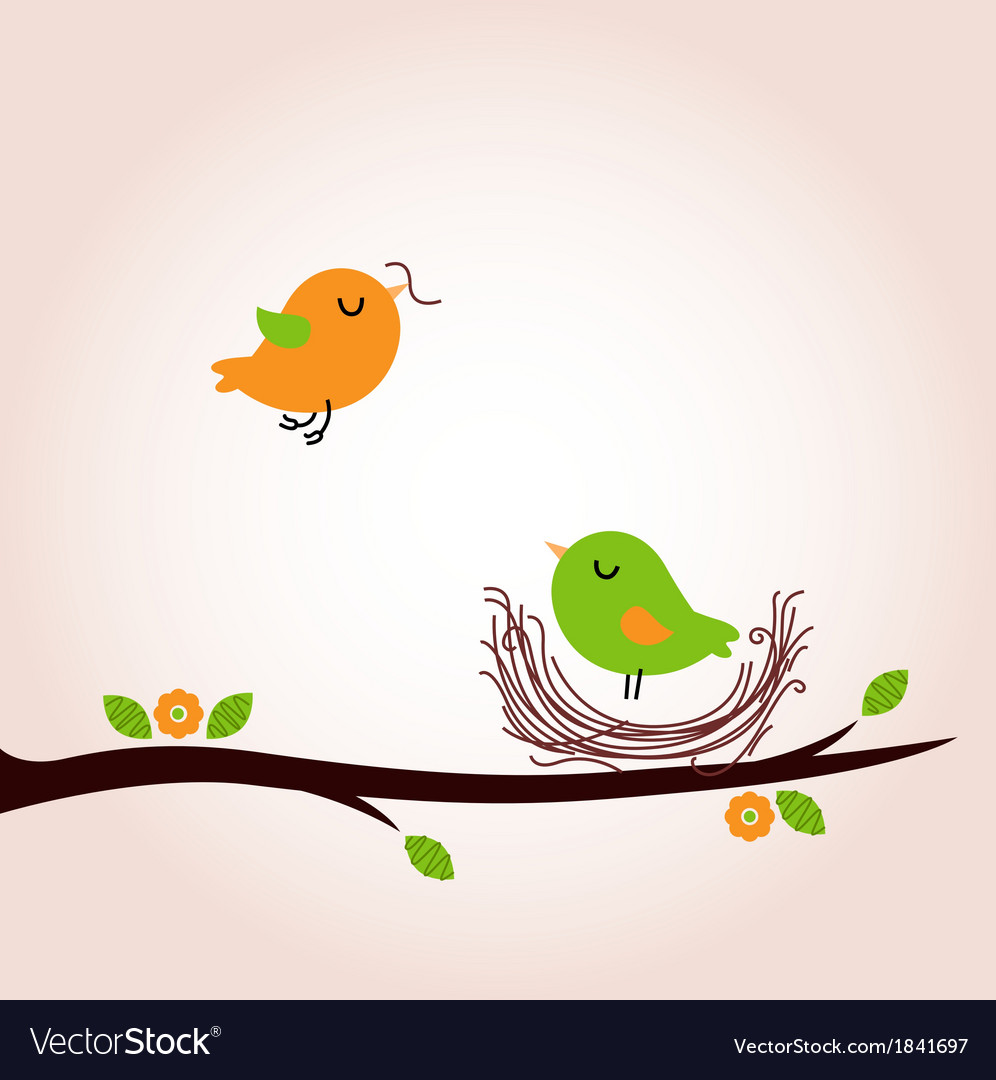 Cute spring birds building nest vector | Price: 1 Credit (USD $1)