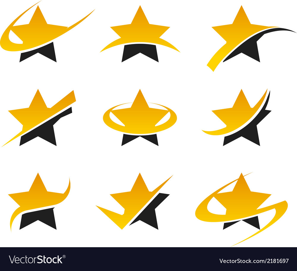 Gold star logo icons vector | Price: 1 Credit (USD $1)