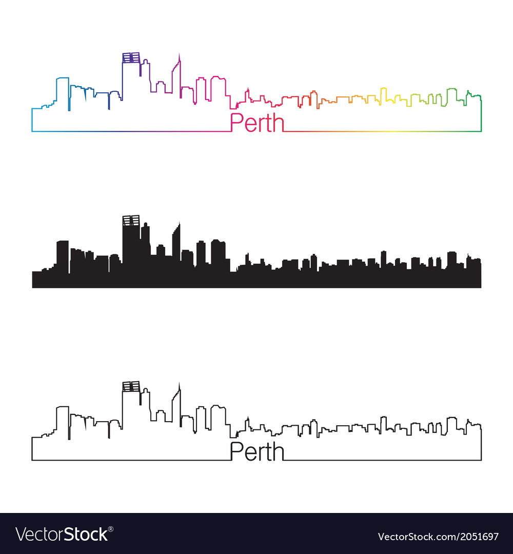 Perth skyline linear style with rainbow vector | Price: 1 Credit (USD $1)
