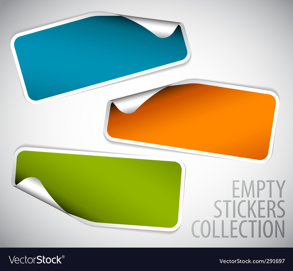 Set of blank rectangle stickers vector | Price: 1 Credit (USD $1)