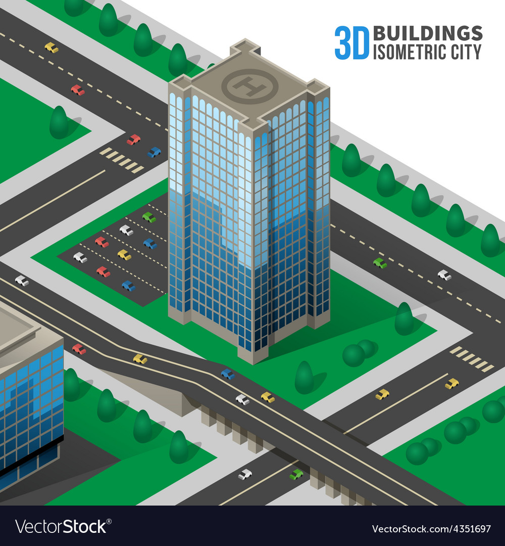 Skyscraper on the street vector | Price: 1 Credit (USD $1)