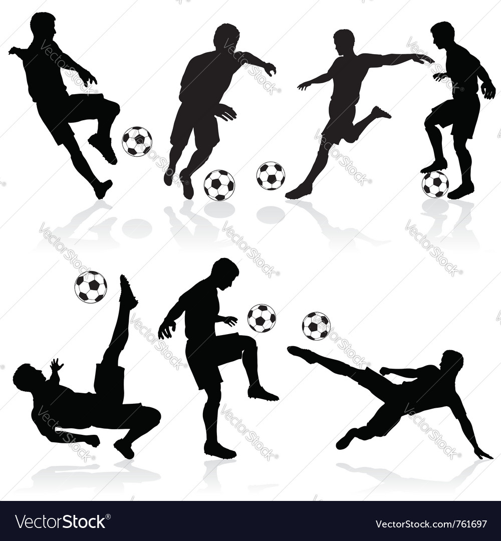 Soccer silhouette set vector | Price: 1 Credit (USD $1)