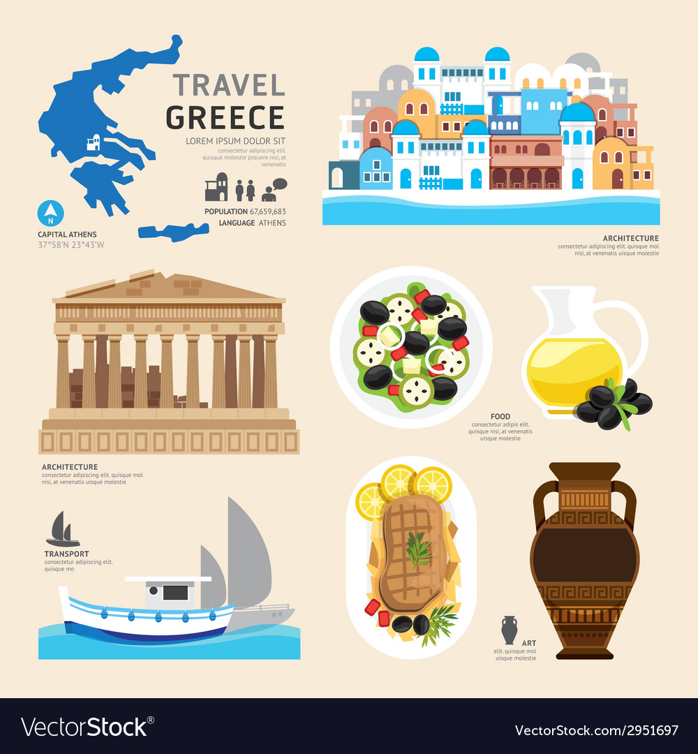 Travel concept greece landmark flat icons design vector | Price: 1 Credit (USD $1)