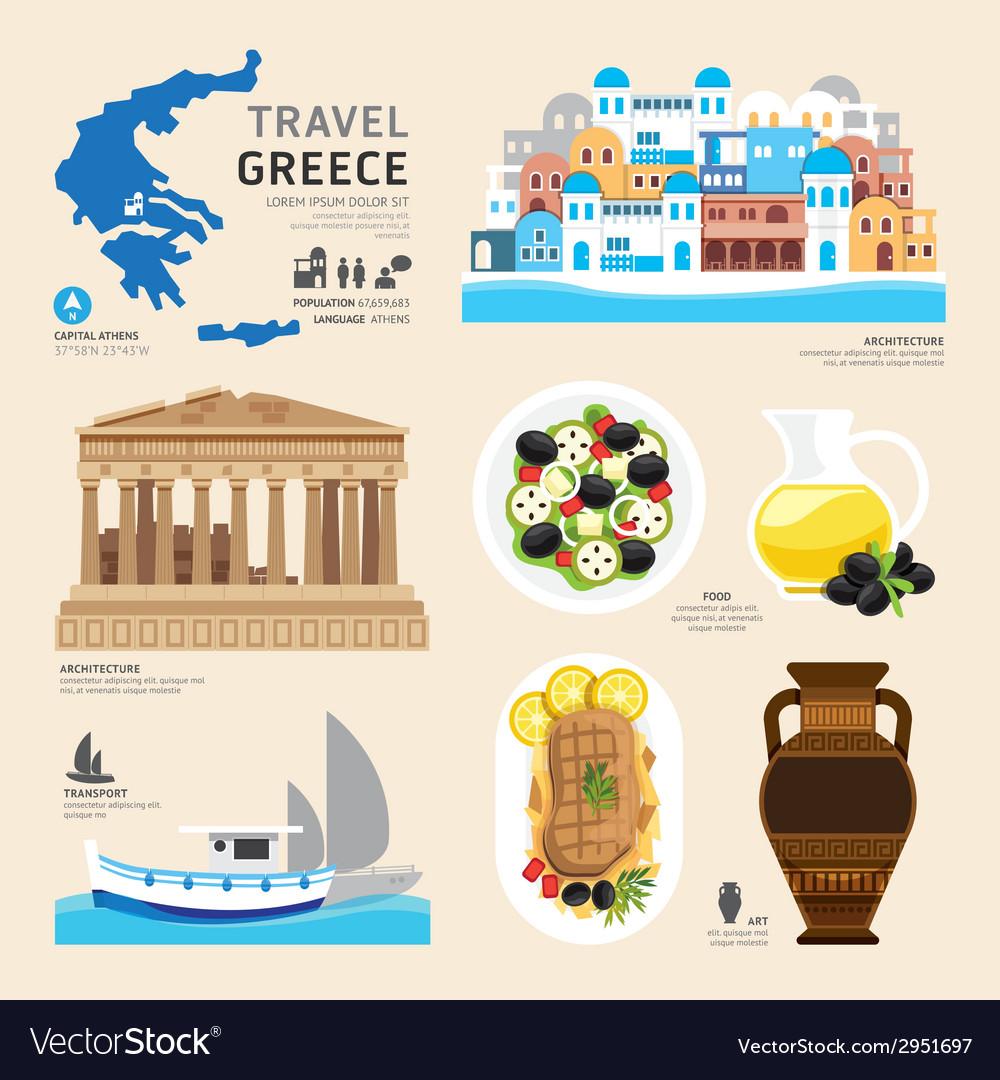 Travel concept greece landmark flat icons design vector | Price: 1 Credit (USD $1)
