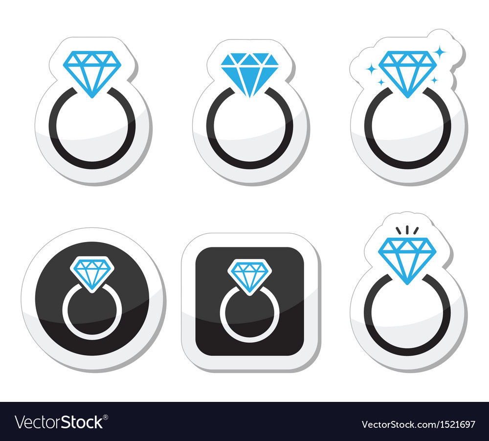 Wedding diamond engagement ring icon vector | Price: 1 Credit (USD $1)