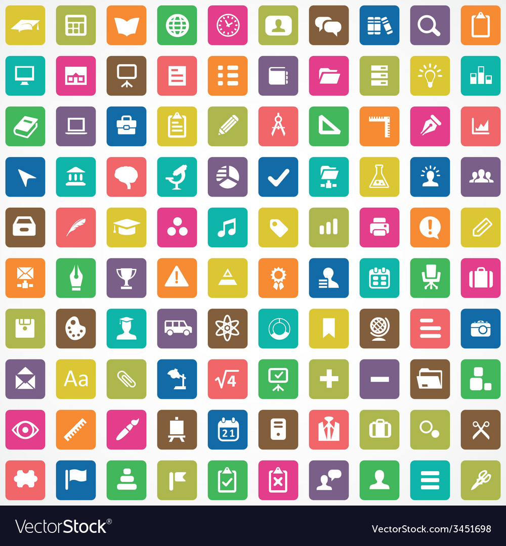100 education icons vector | Price: 1 Credit (USD $1)