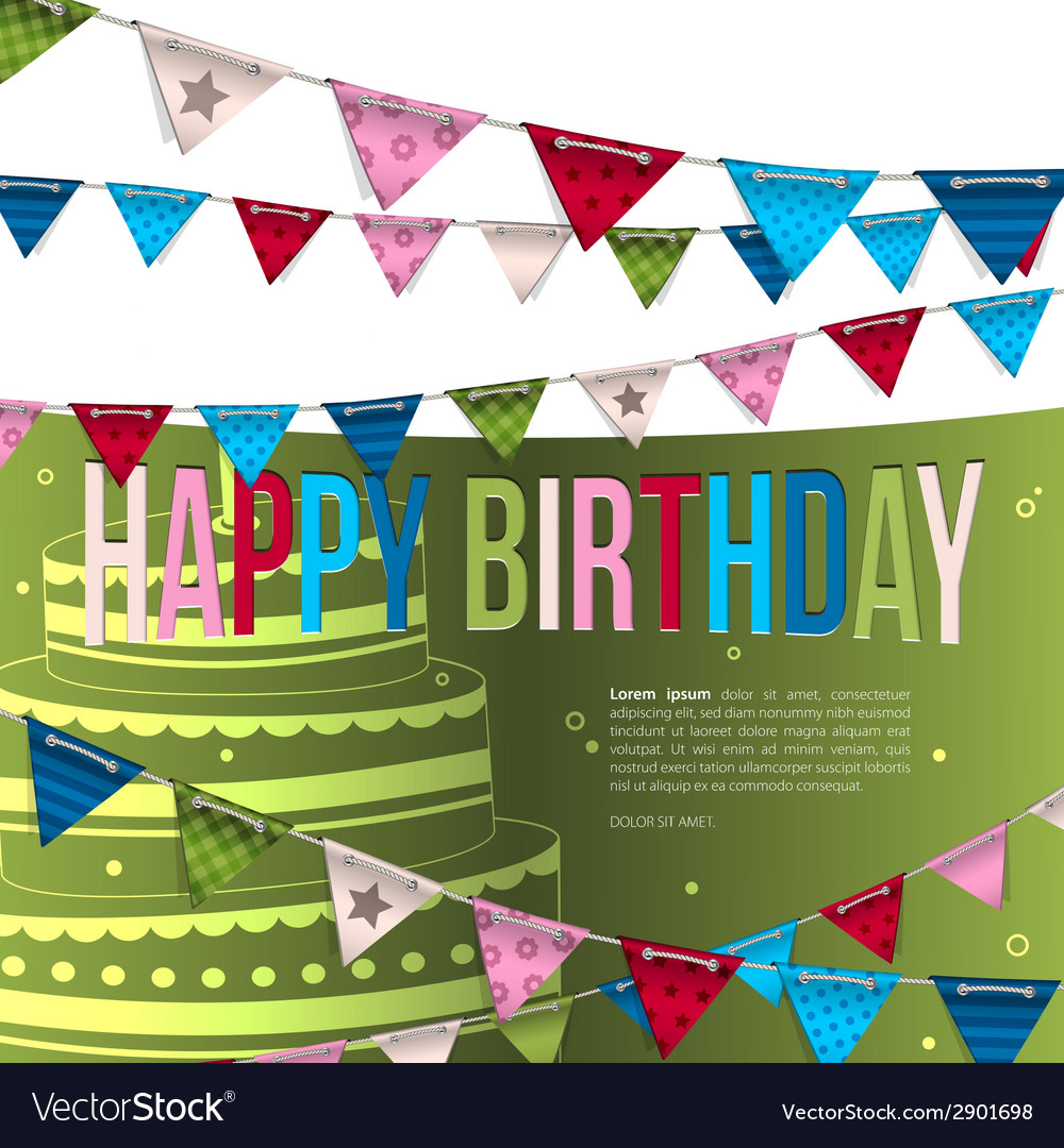 Birthday card with bunting flags vector | Price: 1 Credit (USD $1)
