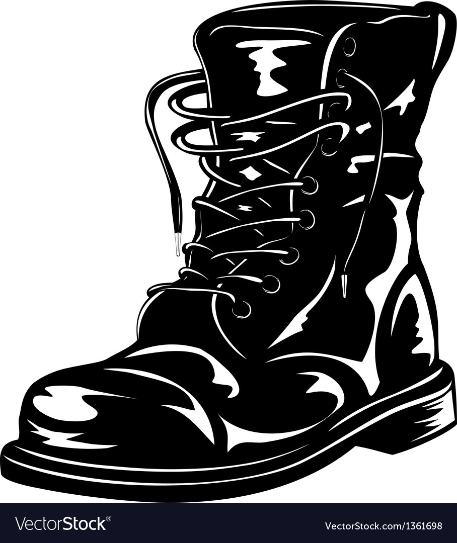 Black army boot vector | Price: 1 Credit (USD $1)