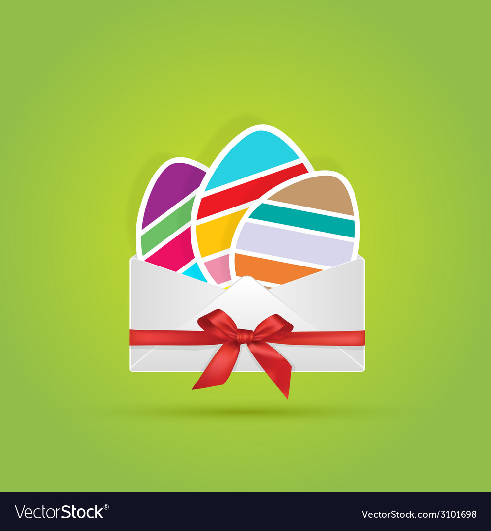 Colored eggs in envelope with bow ribbon gift vector | Price: 1 Credit (USD $1)
