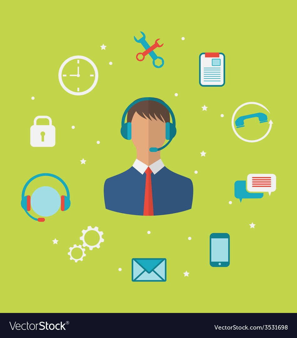 Concept of call center with operator man in vector | Price: 1 Credit (USD $1)