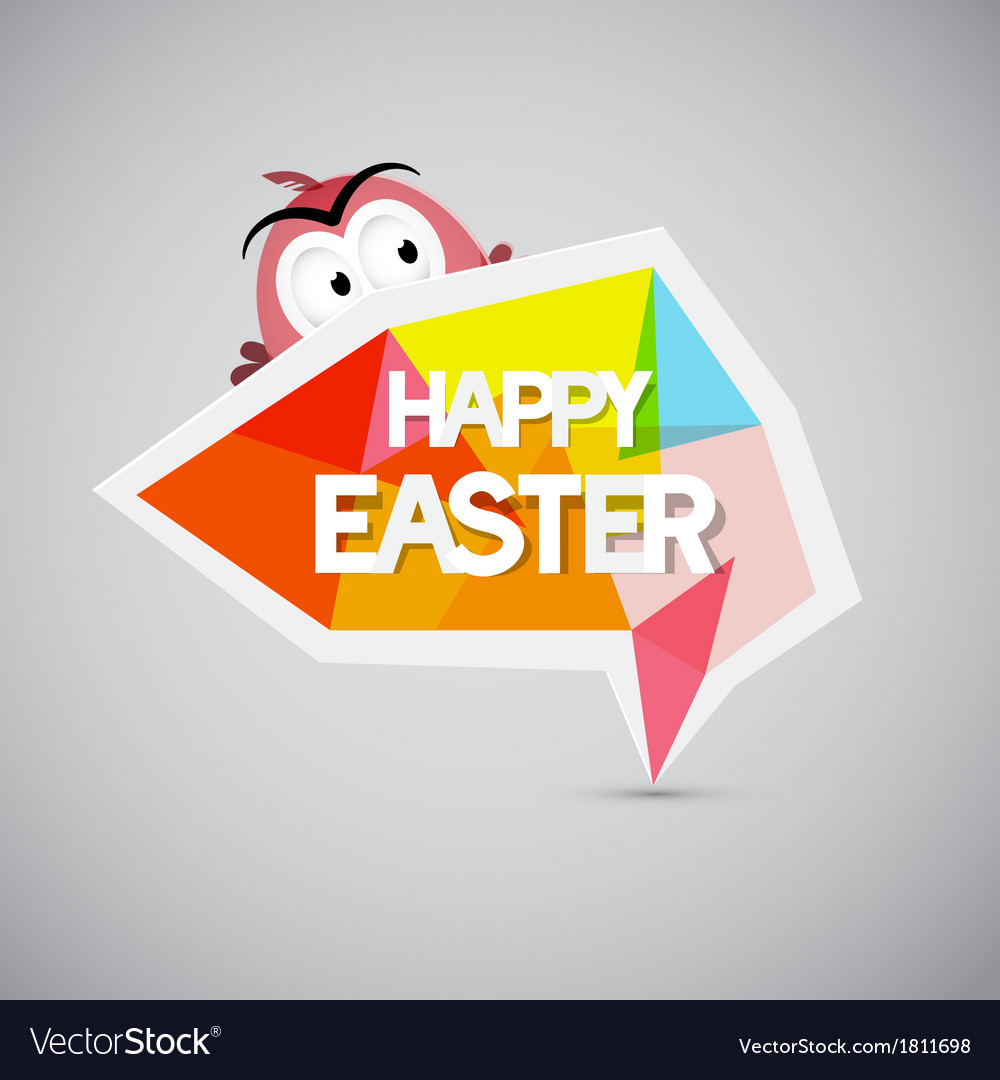Easter background colorful label with chicken vector | Price: 1 Credit (USD $1)