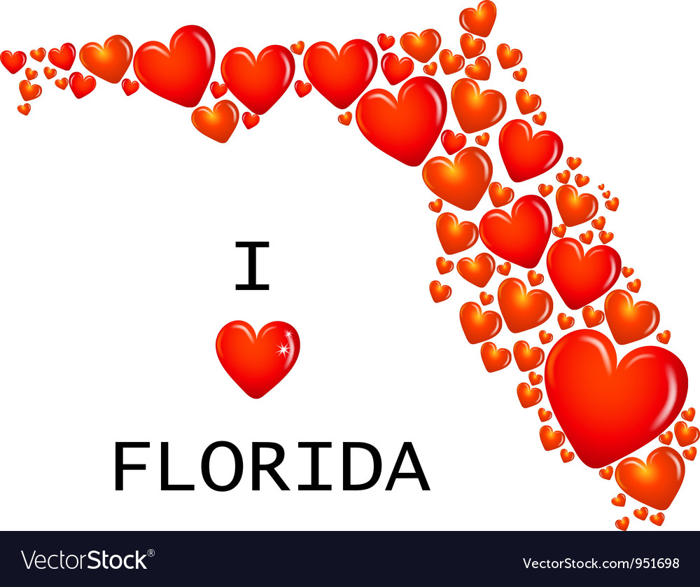Florida state with hearts vector | Price: 1 Credit (USD $1)