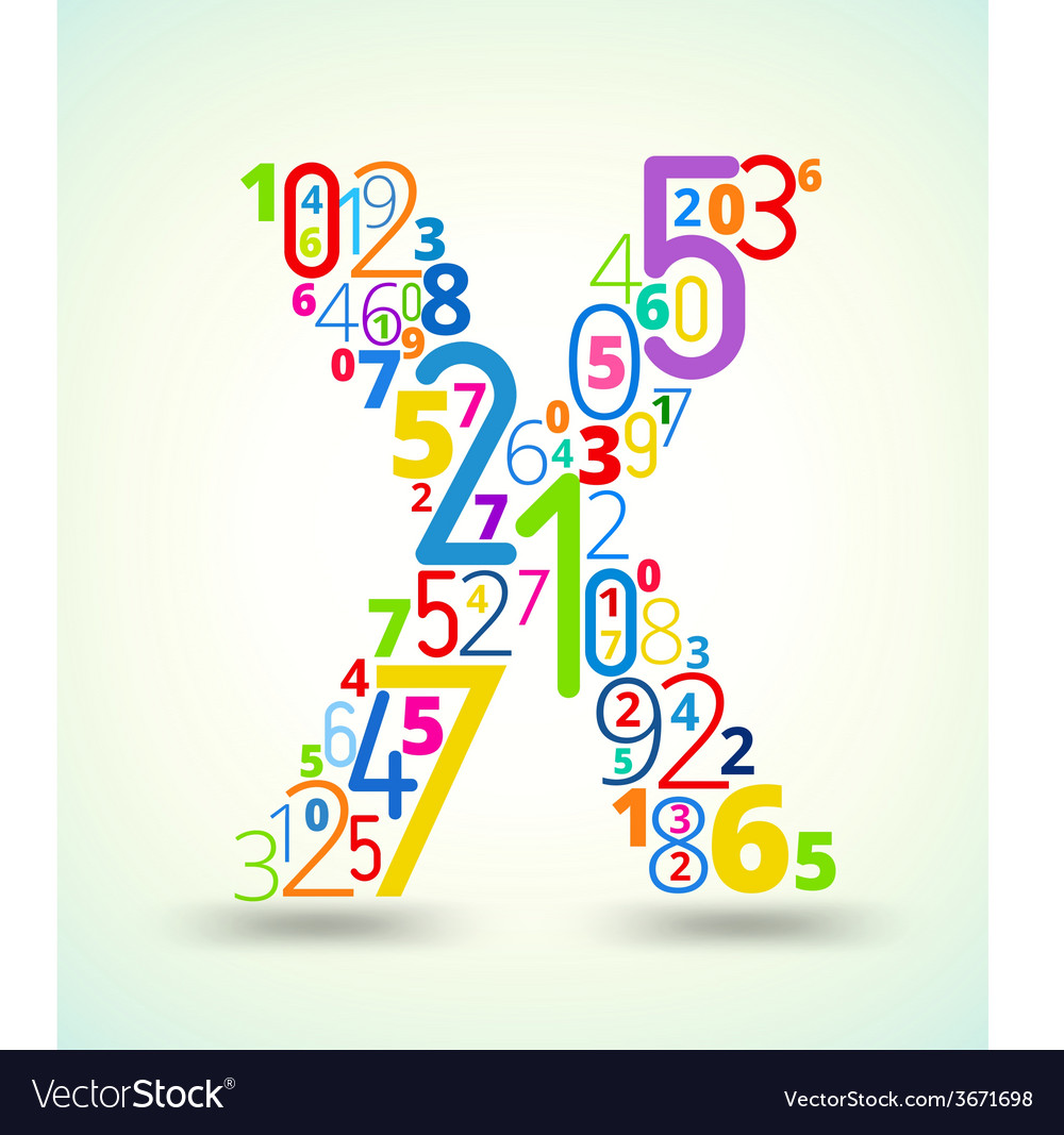 Letter x colored font from numbers vector   Price: 1 Credit (USD $1)