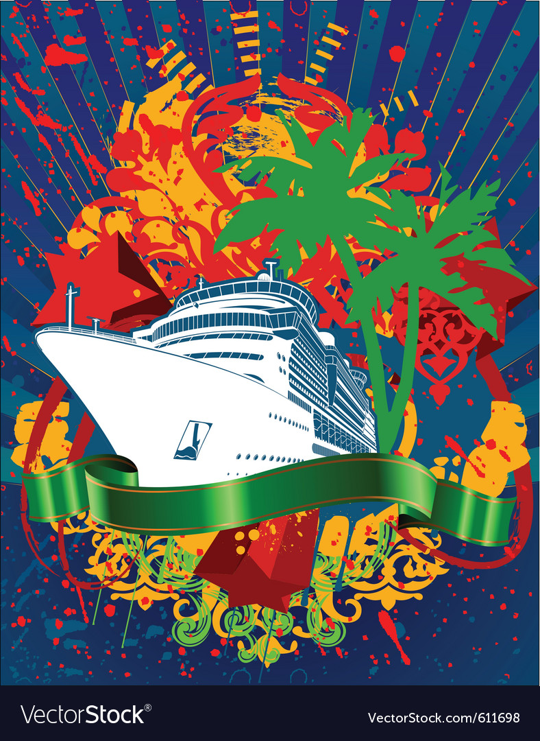 Ocean cruise poster vector | Price: 1 Credit (USD $1)