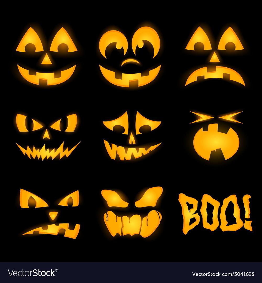 Orange halloween lighting pumpkin faces emotions vector | Price: 1 Credit (USD $1)