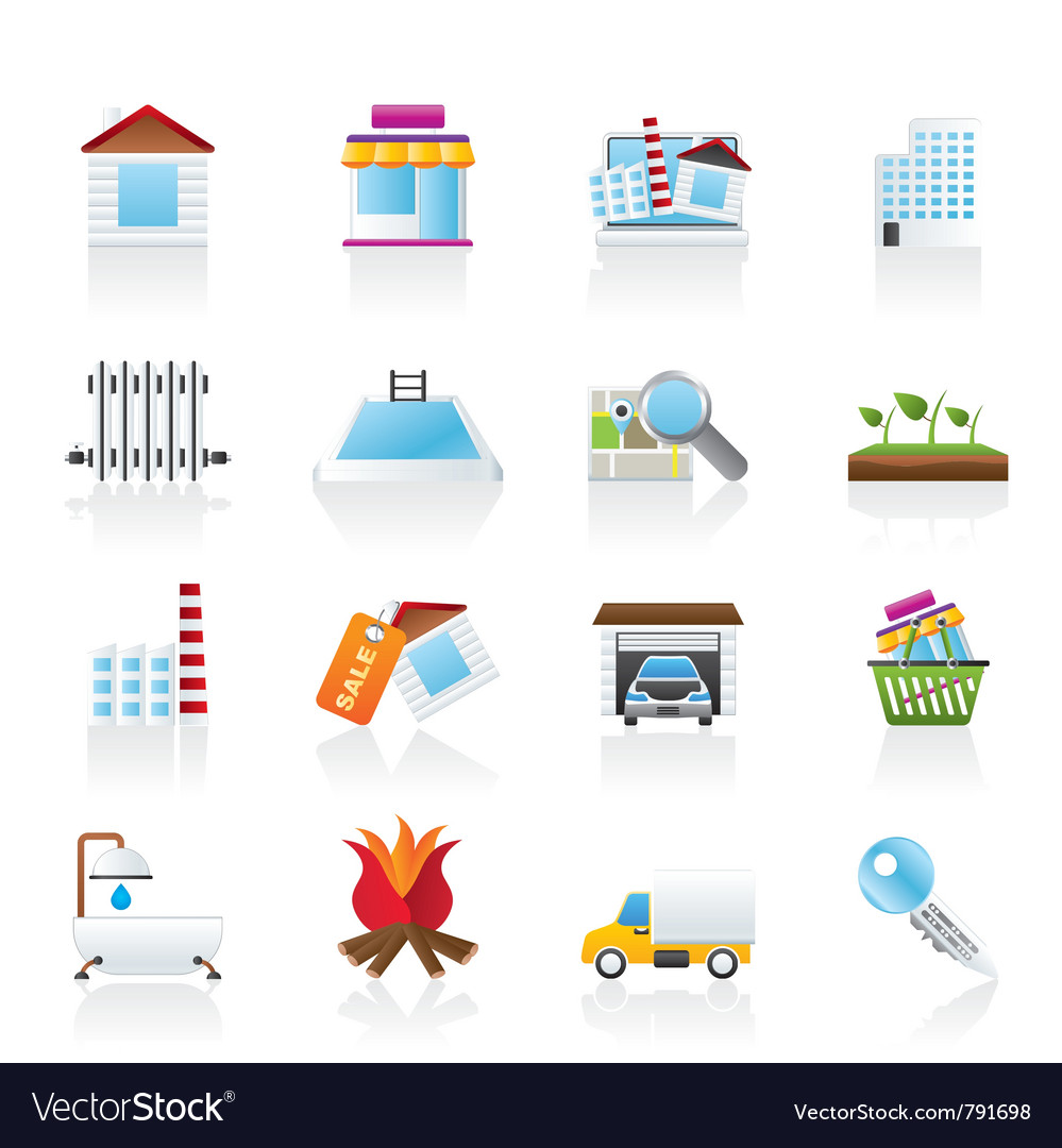 Real estate and building icons vector | Price: 3 Credit (USD $3)