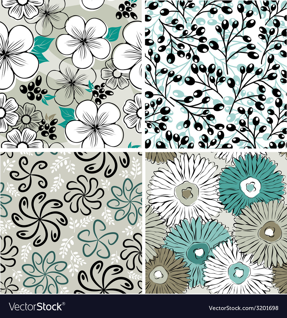 Set of flowers backgrounds vector | Price: 1 Credit (USD $1)
