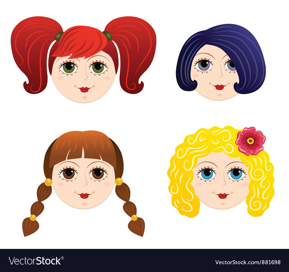 Set of girls faces 2 vector | Price: 1 Credit (USD $1)