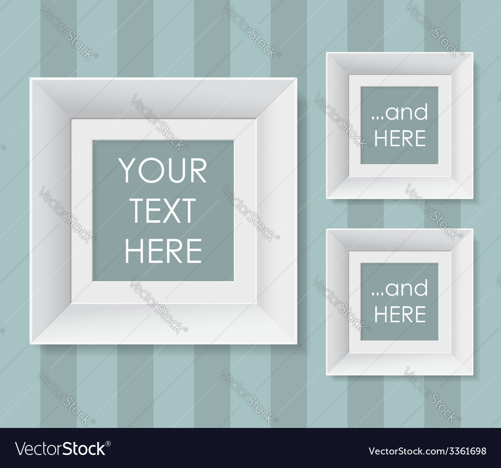 Set of white frames over striped background vector   Price: 1 Credit (USD $1)