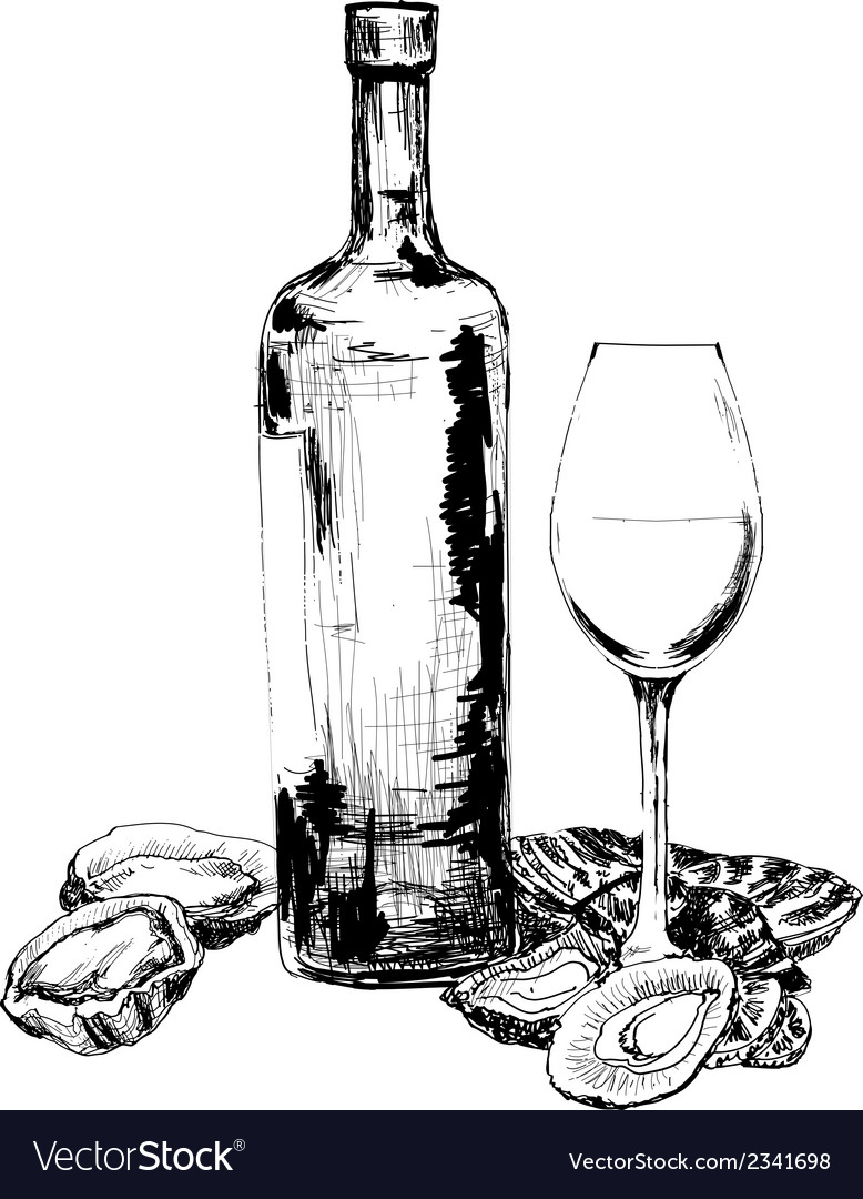 Wine and oysters vector | Price: 1 Credit (USD $1)