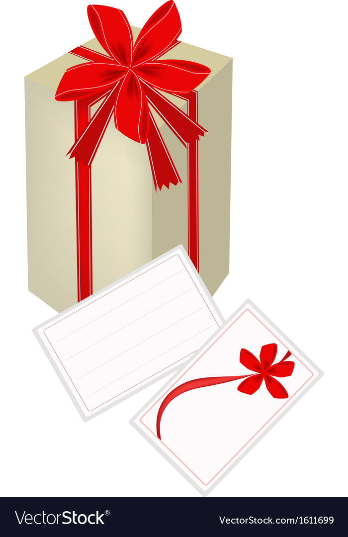 A gift box with red ribbon and gift card vector | Price: 1 Credit (USD $1)