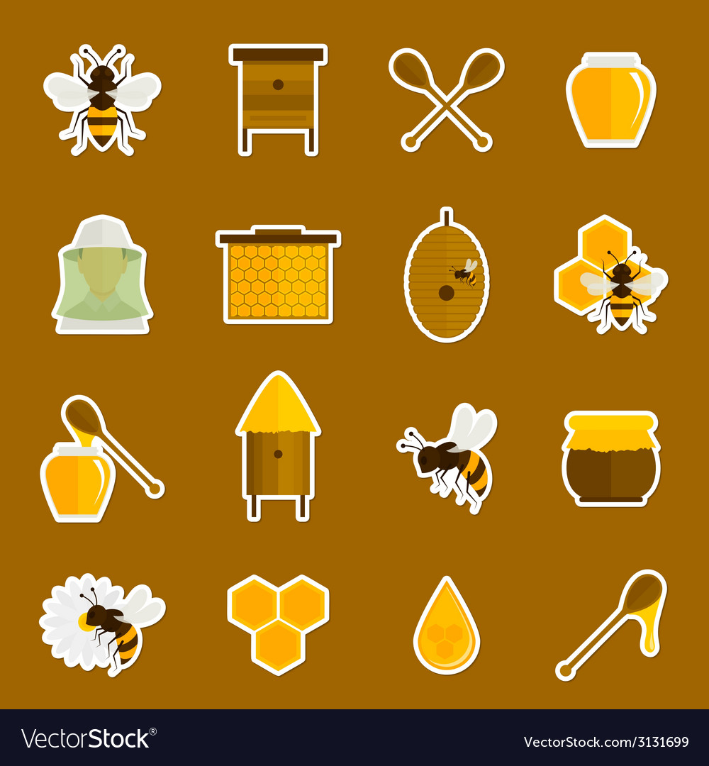 Bee honey icons stickers set vector | Price: 1 Credit (USD $1)