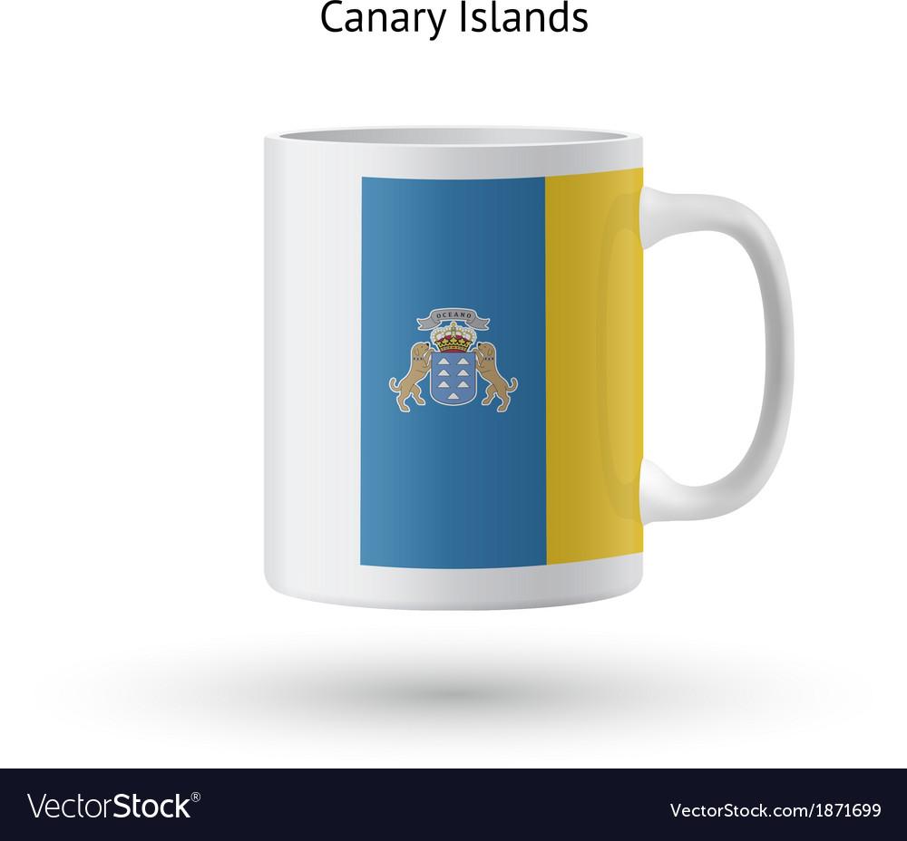 Canary islands flag souvenir mug on white vector | Price: 1 Credit (USD $1)