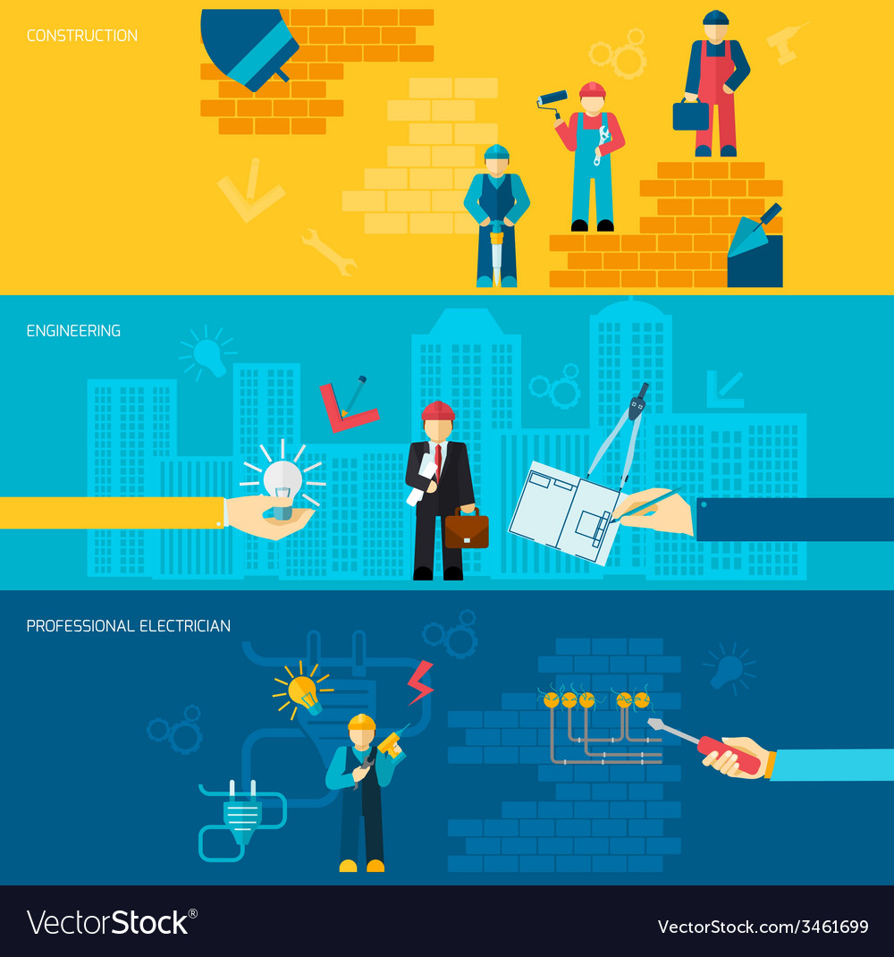 Construction professions banners vector | Price: 1 Credit (USD $1)