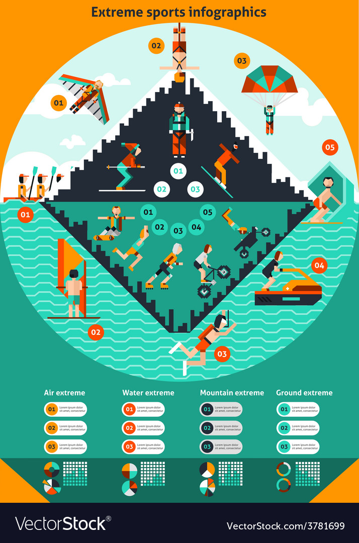 Extreme sports infographics vector | Price: 3 Credit (USD $3)