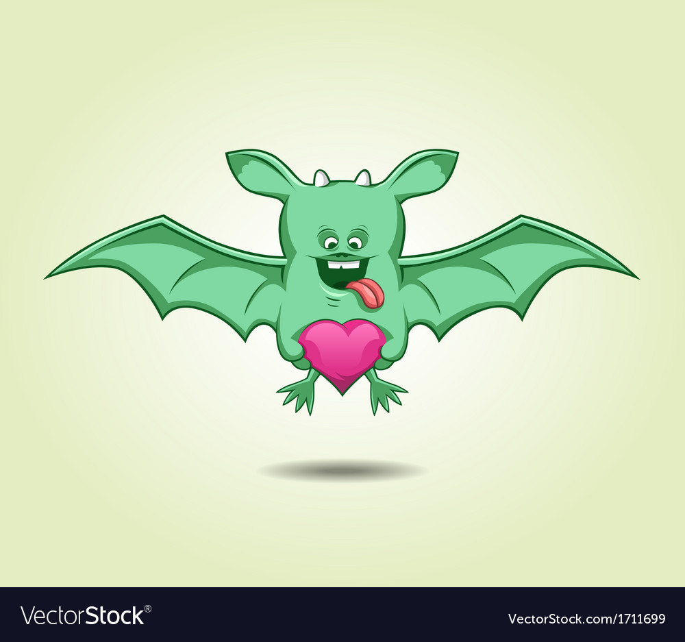 Green flying monster with a heart vector | Price: 1 Credit (USD $1)