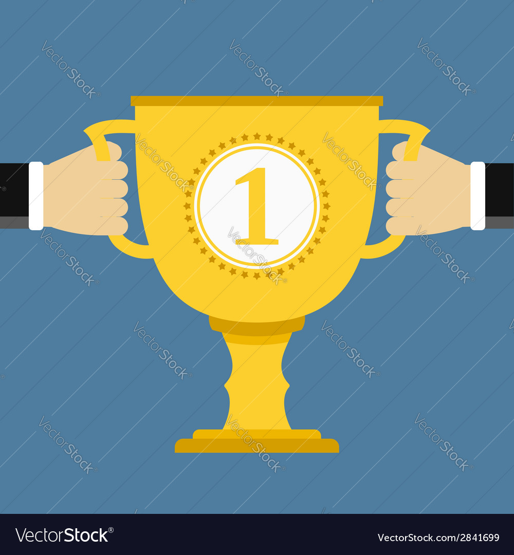 Hands holding golden cup vector | Price: 1 Credit (USD $1)