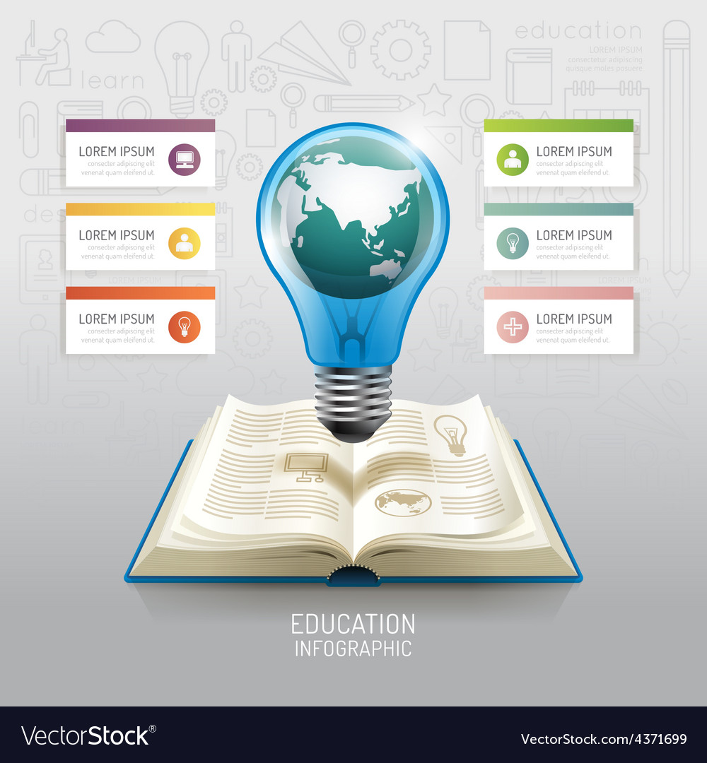 Open book infographic education world light bulb vector | Price: 3 Credit (USD $3)