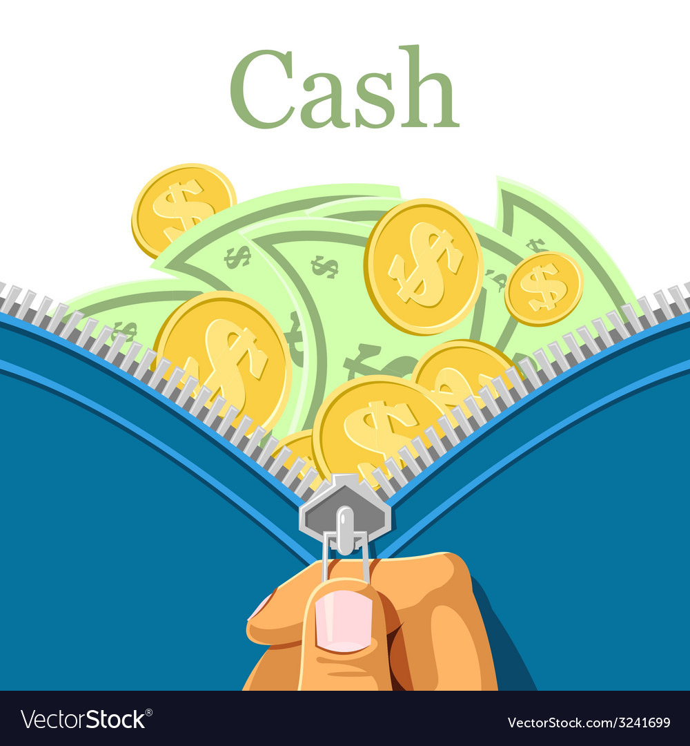 Purse and a lot of cash vector | Price: 1 Credit (USD $1)